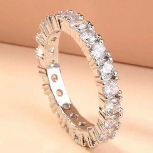 Beautiful Rhinestone Silver Tennis ring size 7.75